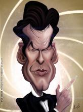 Caricature de Pierce Brosnan