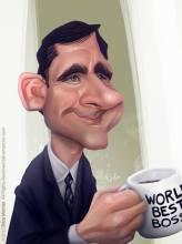 Caricature de Steve Carrel