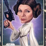 Caricature de Carrie Fisher